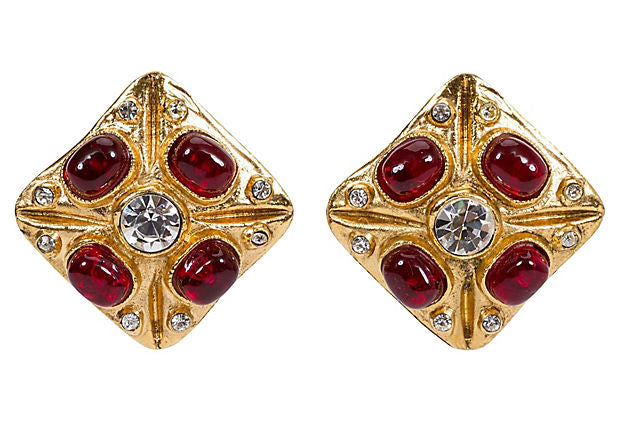 1970s Chanel Gripoix & Crystal Earrings