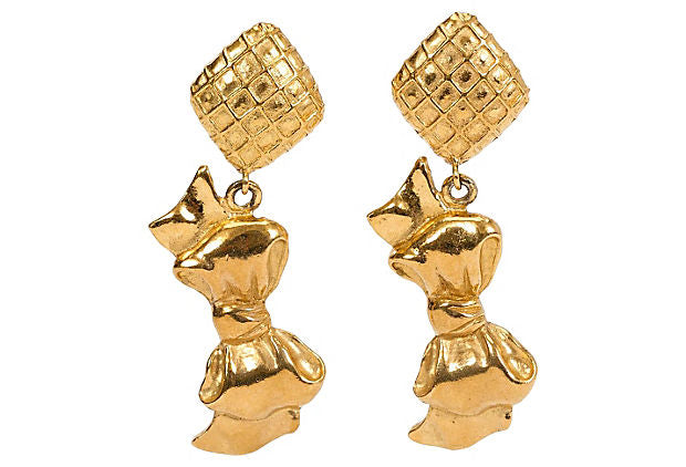1970s Chanel Dangling Bow Earrings