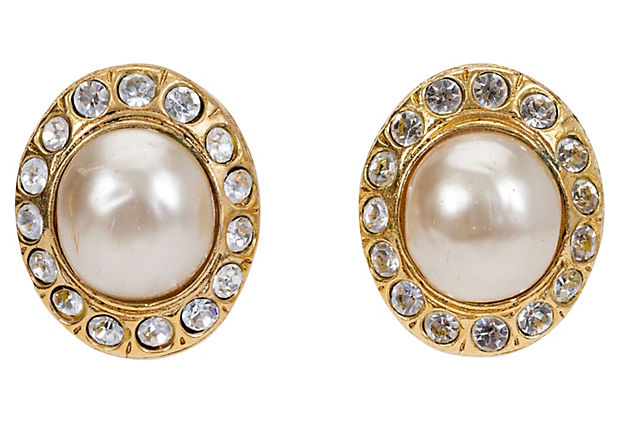 1970s Chanel Pearl & Rhinestone Earrings - Chanel - Vintage Lux