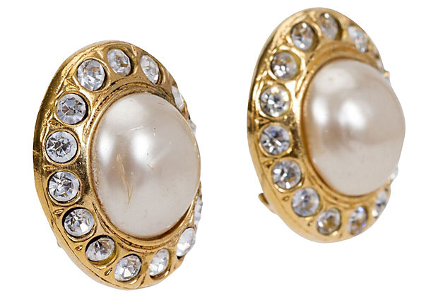 1970s Chanel Pearl & Rhinestone Earrings