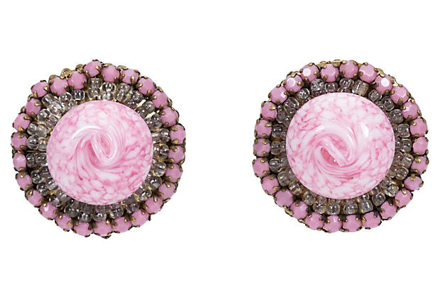 1940s Miriam Haskell Pink Glass Earrings