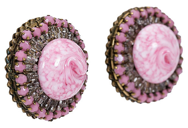 Miriam Haskell Pink Glass Earrings 40s