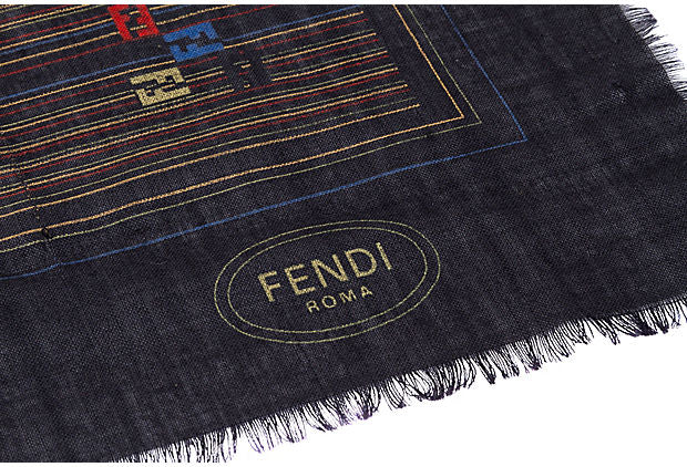 "Fendi Silk Wool 27"" Brown Scarf - Fendi - Vintage Lux"