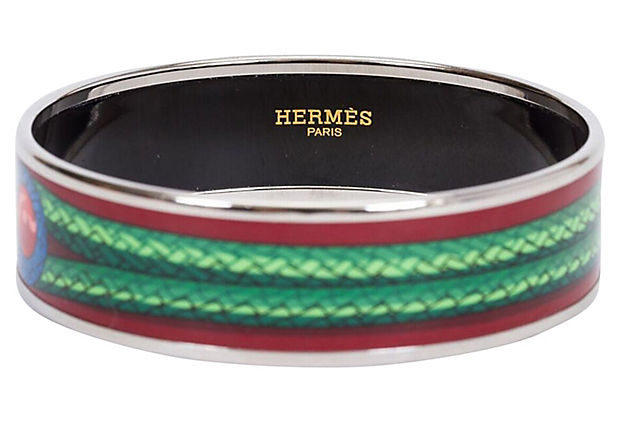 Hermès Burgundy Knot Enamel Bangle