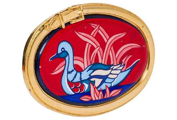 Hermès Red Enamel Blue Swan Pin