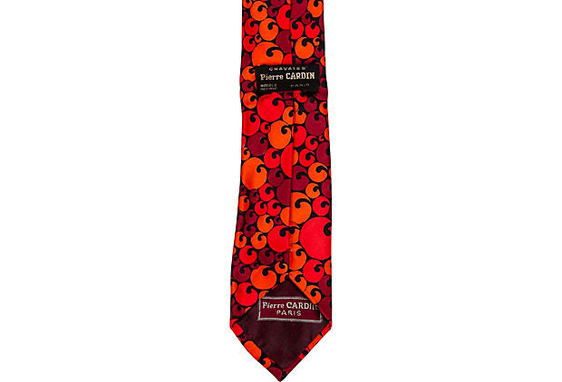 Pierre Cardin Red 100% Silk Graphic Tie