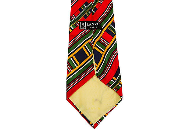 Lanvin Red Silk Plaid Tie 70s