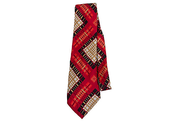 Lanvin Silk Red Plaid Tie