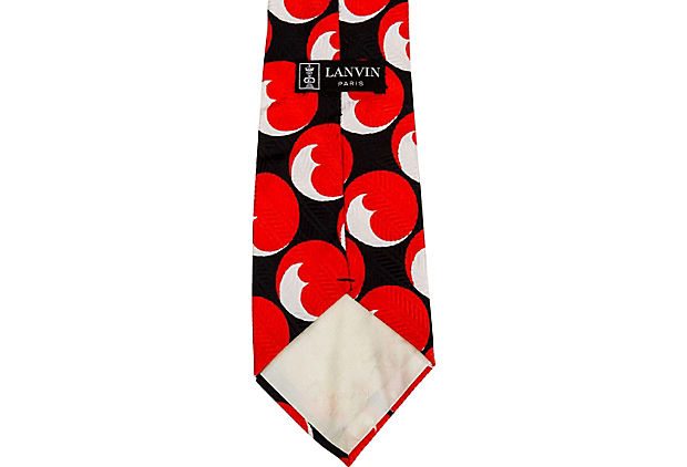 Lanvin 70's Silk Black Red Tie
