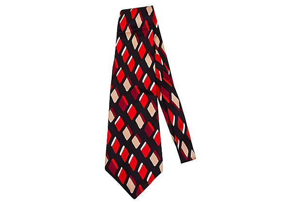 Lanvin Diamond Red Print Silk Tie