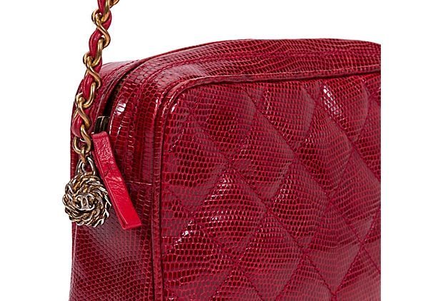1990s Chanel Red Lizard Shoulder Bag