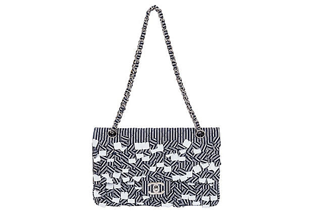 Chanel Blue & White Sequins Flap Bag