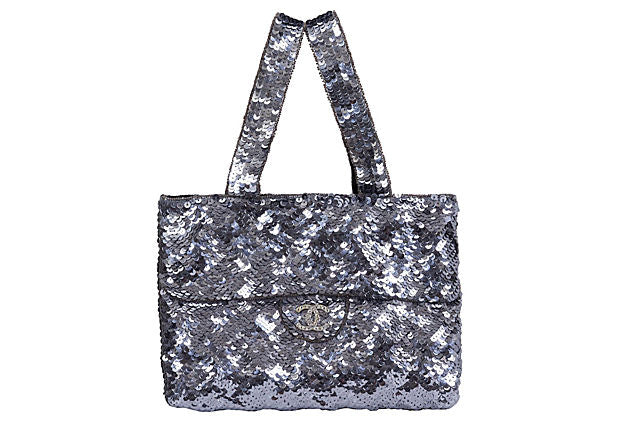 Chanel Silver Sequins Evening Bag