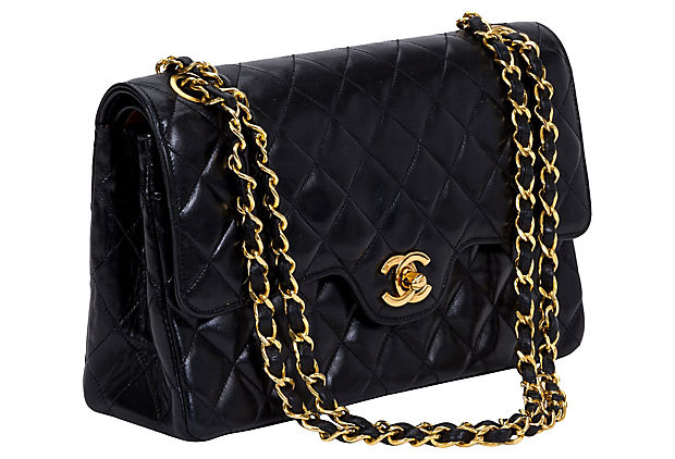 "1990s Chanel Double Flap 10"" Bag"