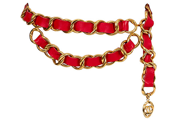 1980s Chanel Red & Gold Belt