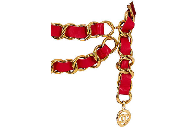 Oversized 1980s Chanel Red & Gold Belt