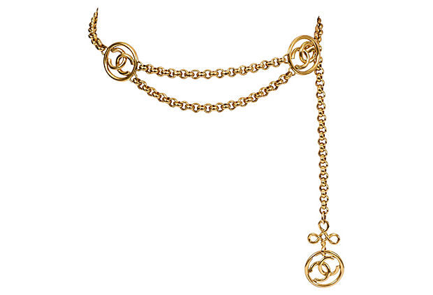 Chanel Triple Logo Gold Belt/Necklace