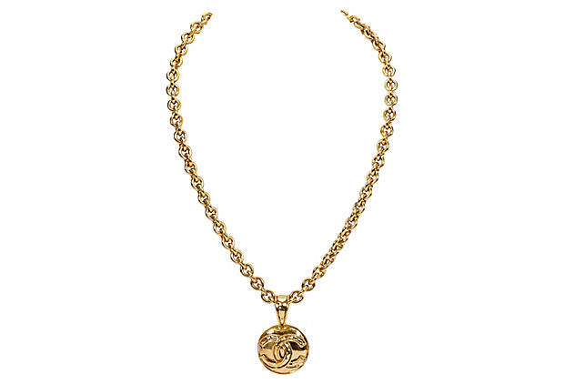 Chanel Necklace w/ Logo Coin Pendant