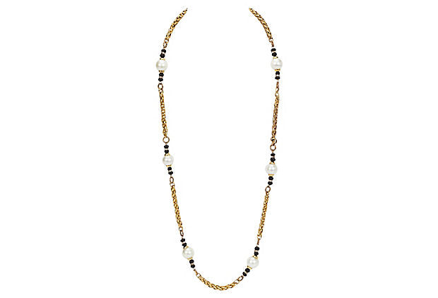 Chanel Pearl & Onyx Sautoir Necklace