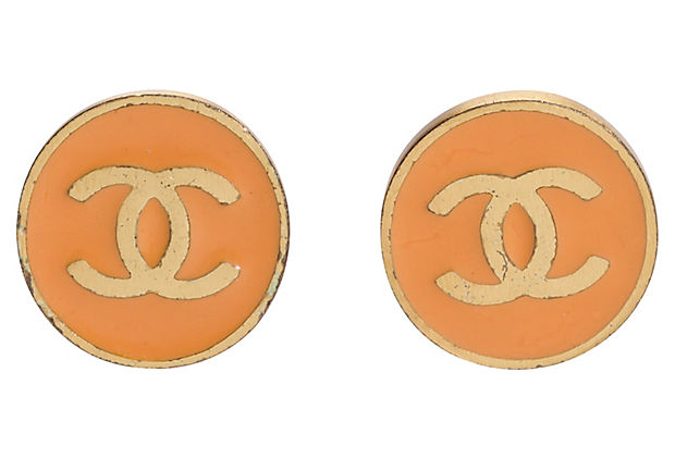 Chanel Orange Logo Earrings
