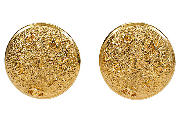 1980s Chanel Textured Logo Earrings - Chanel - Vintage Lux