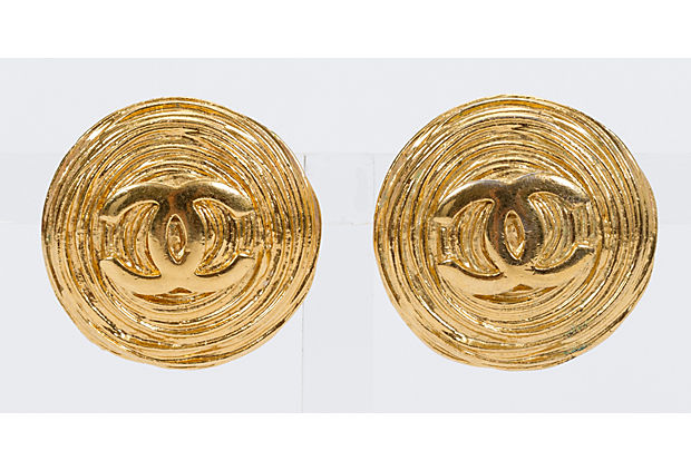 Chanel Oversized Gold Ribbed Earrings