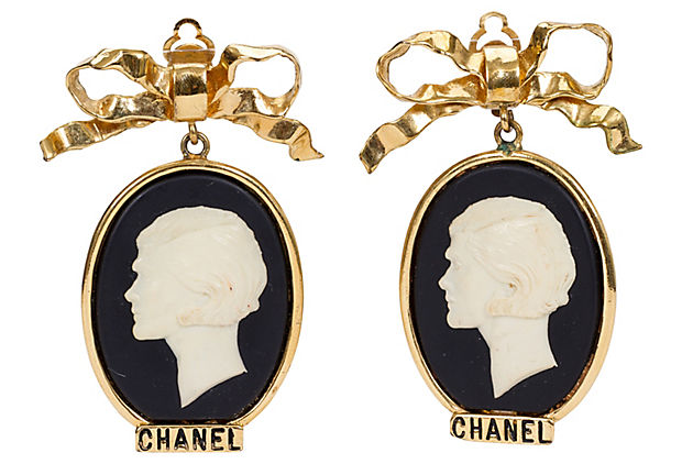 1970s Large Chanel Cameo Earrings