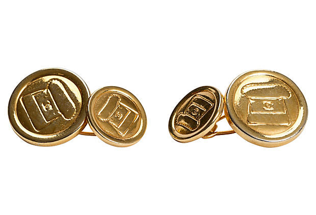 Chanel Gold Plated Flap Cufflinks - Chanel - Vintage Lux