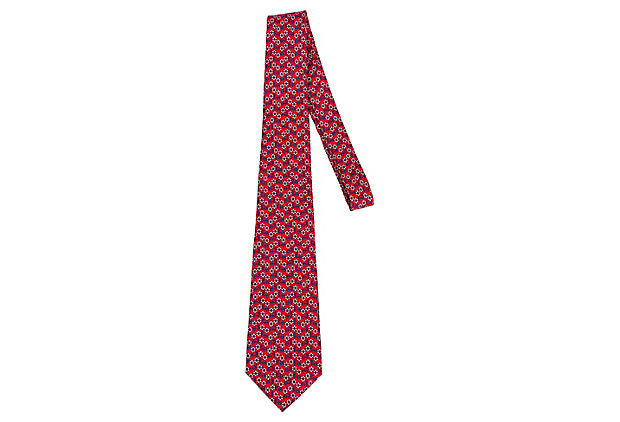 Hermès Red Navy Silk Tie