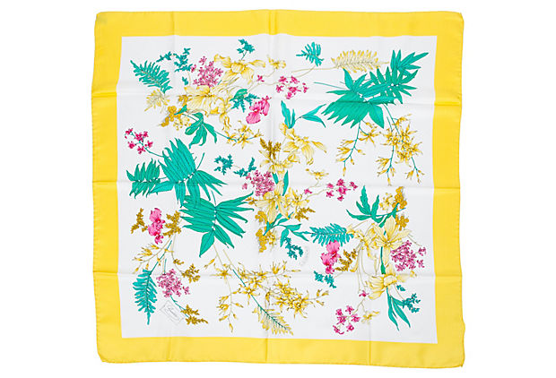 Gucci Yellow Accornero Floral Scarf