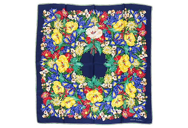 Gucci Colorful Floral Silk Scarf