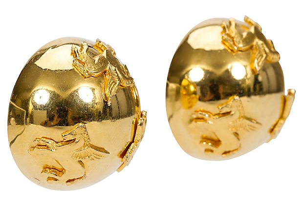 Hermès Gold Pegasus Dome Earrings