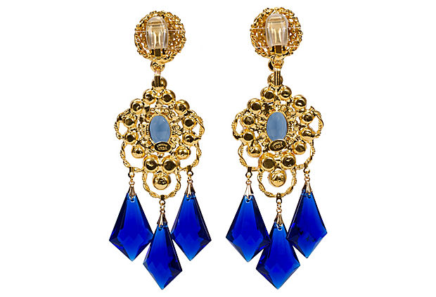 Vrba Blue Pearl Drop Earrings