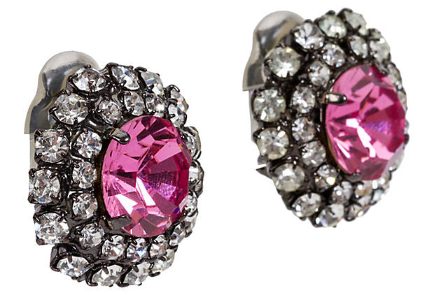 Vrba Pink Rhinestone Earrings