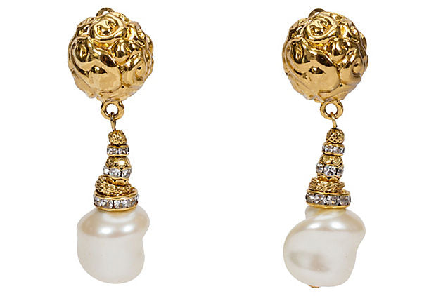 YSL Gold Pearl Drop Earrings