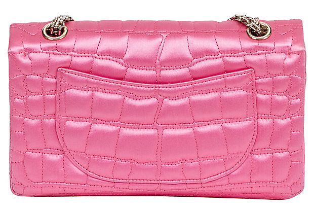 Chanel Pink Satin Silk Croc Double Flap