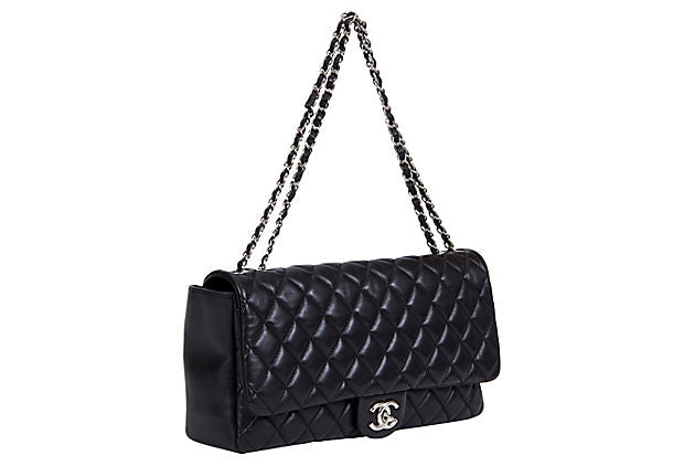 Chanel Jumbo Black Rain Jacket Flap Bag