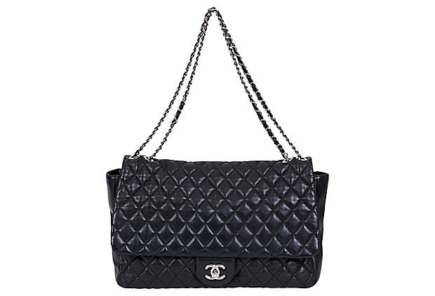 Chanel Black Maxi Rain Jacket Flap Bag - Chanel - Vintage Lux