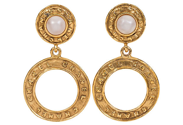 Chanel Pearl Hoop Dangle Clip Earrings