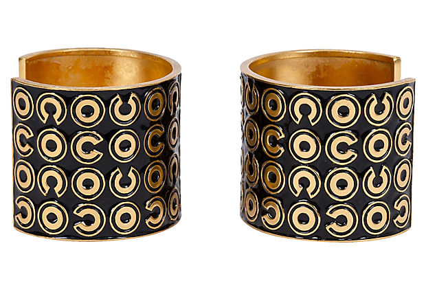 Chanel Black & Gold Cuffs Pair