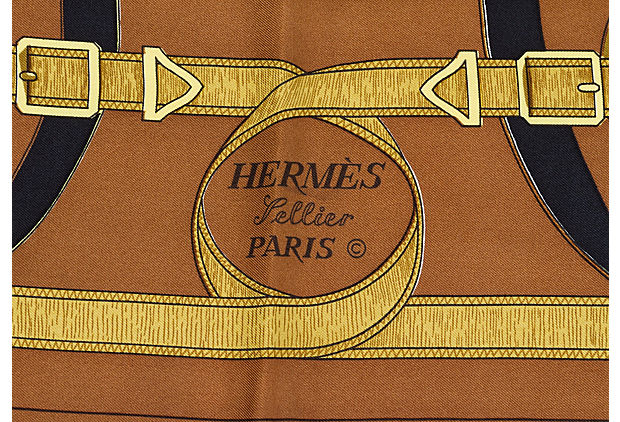 Hermès Chocolate Eperon d'Or Silk Scarf