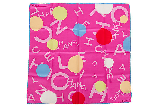 Chanel Hot Pink Logo Pocket Scarf