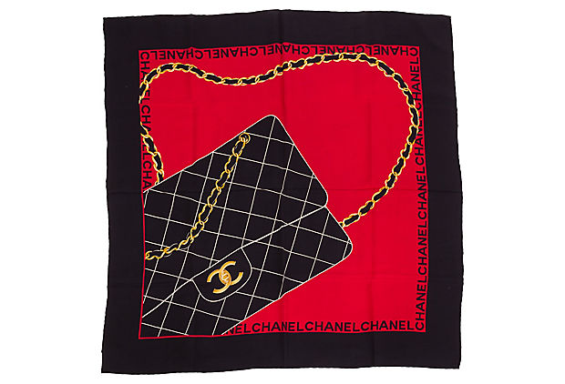 Chanel Rare Silk Quilted Flap Bag Scarf
