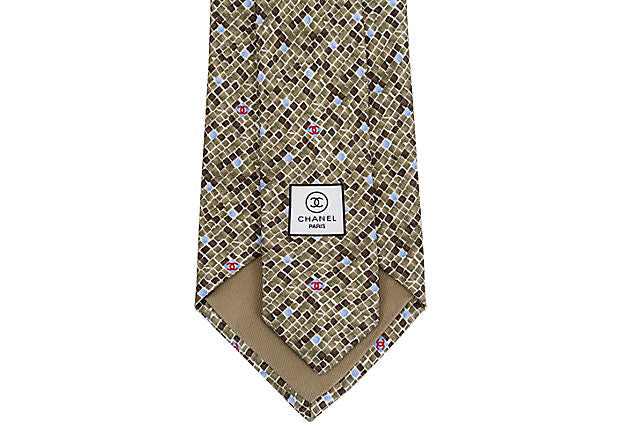 Chanel Green Blue Logo Tie