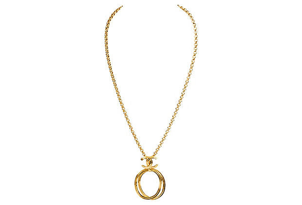 Chanel Double Loop Logo Necklace - Chanel - Vintage Lux