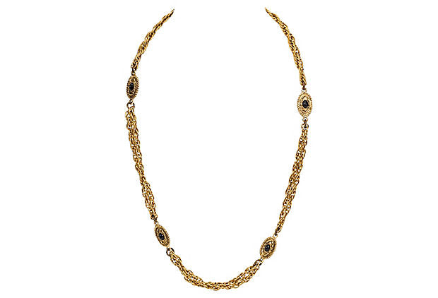 Chanel Black Bead Double Necklace 1982