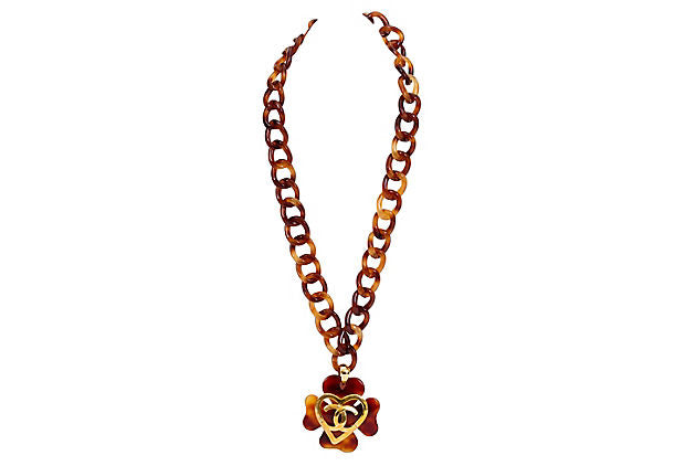 Chanel Extra-Long Faux-Tortoise Necklace - Chanel - Vintage Lux