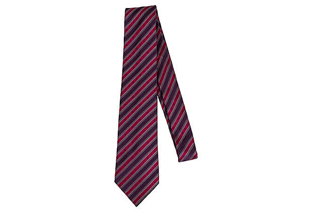 Louis Vuitton Silk Stripe Burgundy Tie