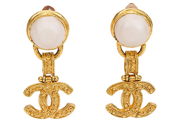 Chanel Florentine Pearl Dangle Earrings