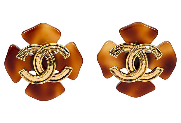 Chanel Faux-Tortoise Clover Earrings - Chanel - Vintage Lux